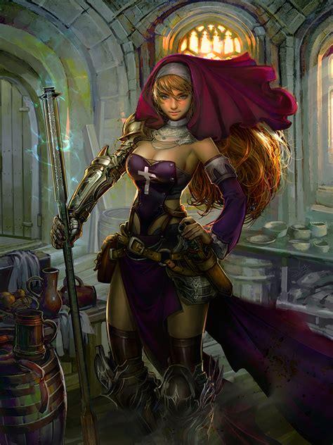 nun warrior fantasy copy deviantart digital deviant tweet