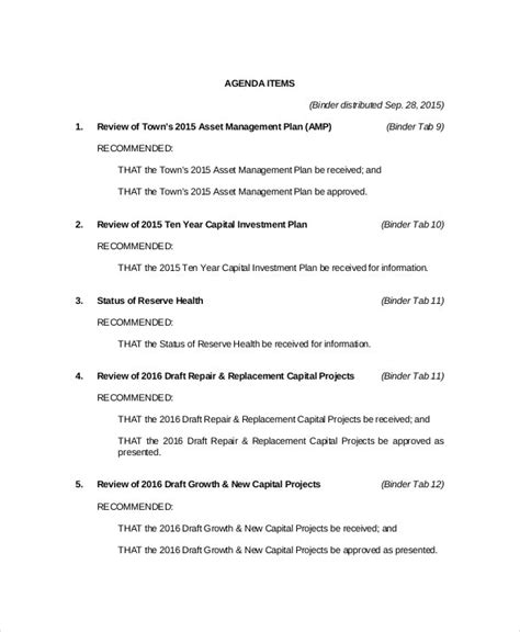 budget meeting agenda template   word