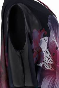 C50 Size Chart Black Cold Shoulder Double Layer Cape Dress With Floral