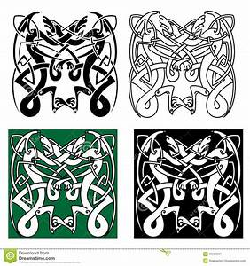 Tribal Dragons With Celtic Knot Pattern Stock Vector ...
