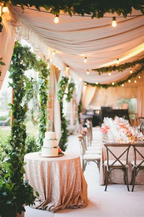add mini string lights sequined tablecloths to the mix