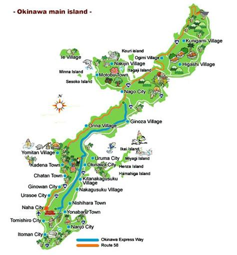 top  attractions  okinawa  okinawa island map