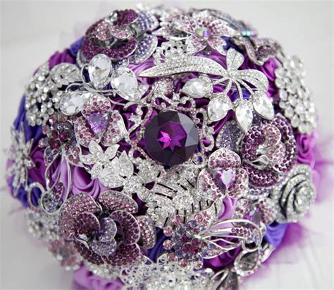 Brooch Bouquet Lilac Purple Pink And Silver Wedding
