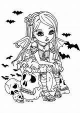 Coloring Vampire Halloween Adult Fille Coloriage Colorare Colorear Erwachsene Adults Malbuch Adultos Fur Adulti Disegni Kawaii Dessin Jolie Coloriages Skull sketch template