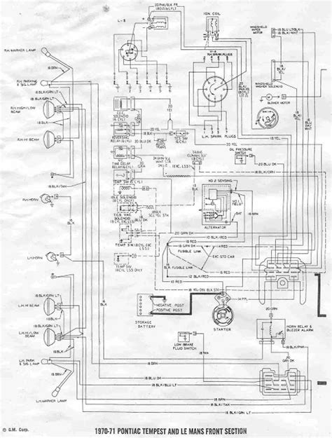 1970 Wiring Diagram by Pontiac Tempest And Le Mans 1970 1971 Front Section Wiring