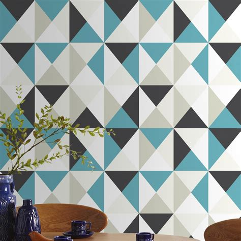 papier peint intiss 233 polygone bleu leroy merlin