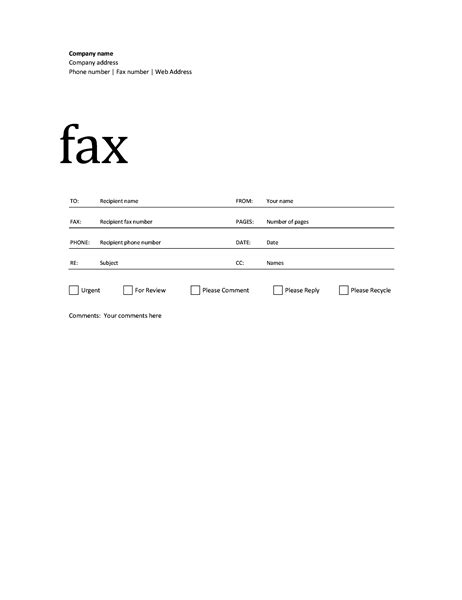 fax cover sheet professional design