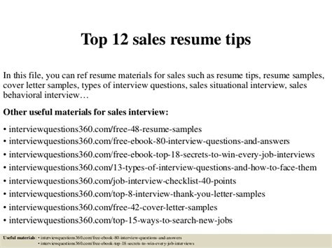 Tips For Writing A Sales Resume by Top 12 Sales Resume Tips