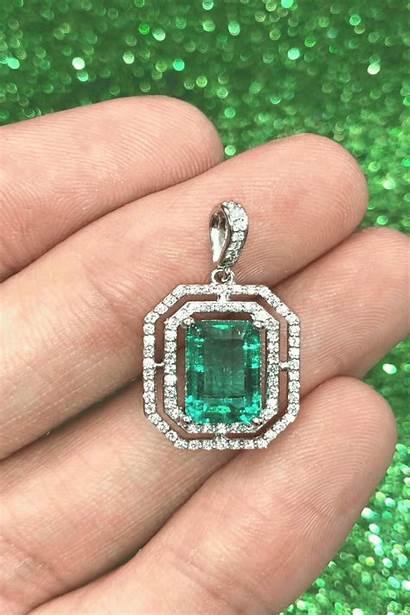 Diamond Emerald Colombian Elongated Pendant Rich Jewelry