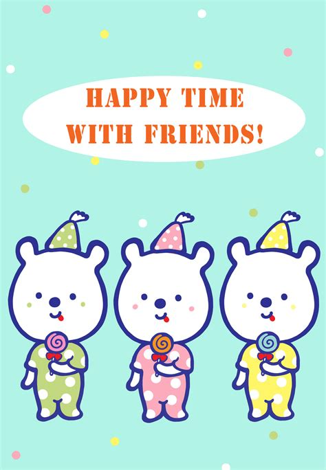 happy time  friends friendship card
