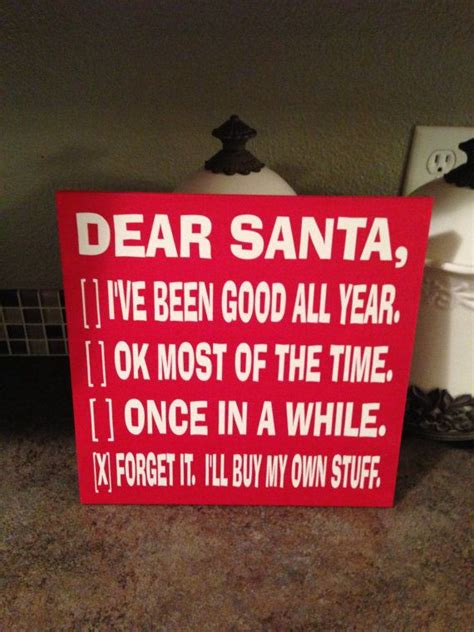 dear santa wood sign  funny christmas sign signs