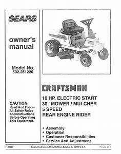 Craftsman 502251220 User Manual Tractor Manuals And Guides