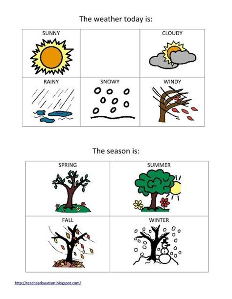 weather and seasons printable for preschool or elementary