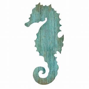 Seahorse Silhouette Facing Left Wall Art - Aqua - Beach