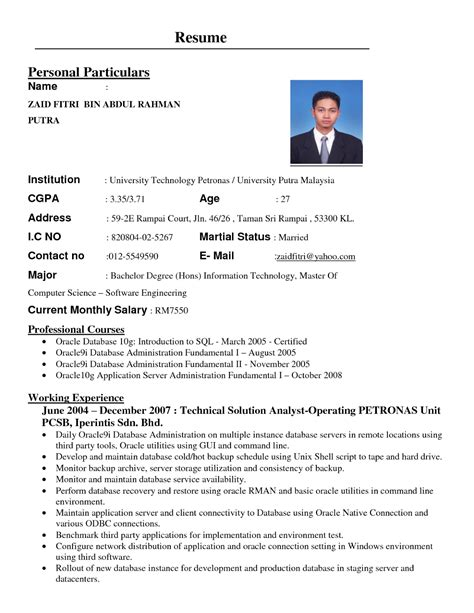 Contoh Resume Student by Contoh Resume Kerajaan Gontoh