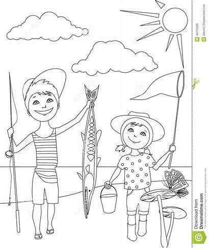 Coloring Fishing Outline Summer Boy Activities Vector