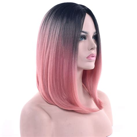 Soowee 11 Colors Black To Pink Ombre Hair Straight Bob