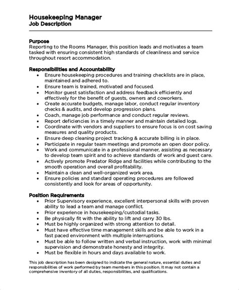 sample housekeeping job description templates