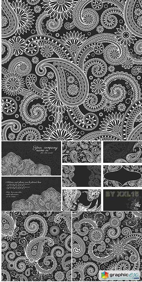 vector paisley vector patterns  cards