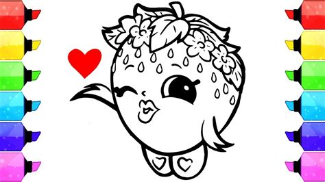 shopkins strawberry kiss coloring pages   draw