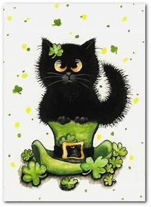 Black Cat Lucky Leprachaun- Art Prints or ACEO by Bihrle ck400