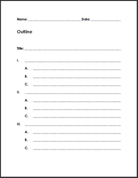 outline notes template free blank printable outline for students student handouts