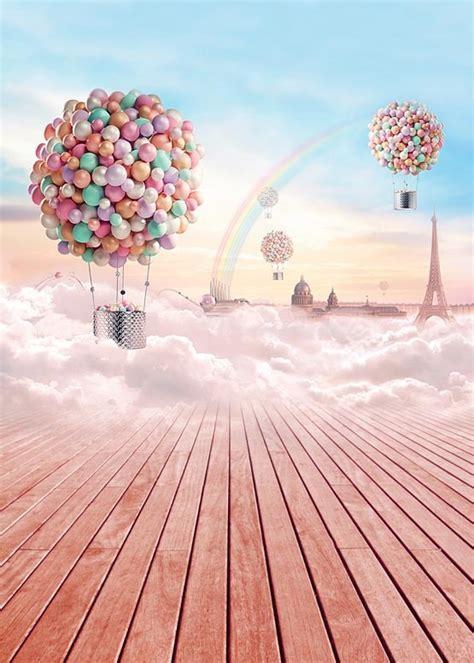 customize washable wrinkle  fairy sky balloon rainbow