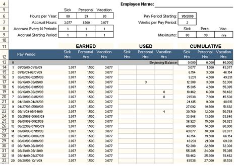 employee pto tracker excel template  excel templates