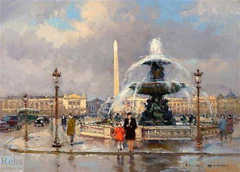 oil paintings   edouard cortes fountain  place de la