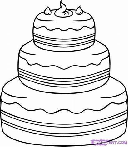 Cake Draw Drawing Birthday Step Easy Line