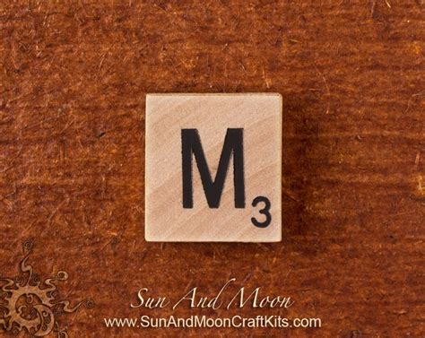 Natural Wood Scrabble Tile - Wooden Tiles - Letter M