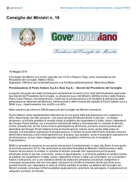 Governo Consiglio Dei Ministri by Governo It Consiglio Dei Ministri N 16