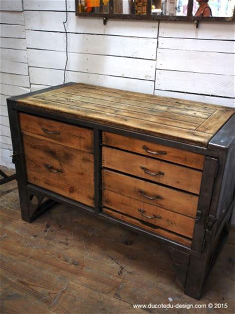 bureau metal et bois etabli industriel bureau bois metal