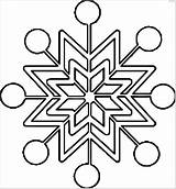 Snowflake Coloring Pages Printable Christmas Winter Easy Simple Preschoolers sketch template