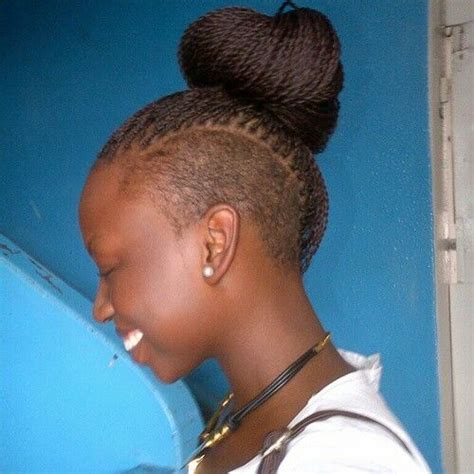 small senegalese twist with shaved side shaved sides