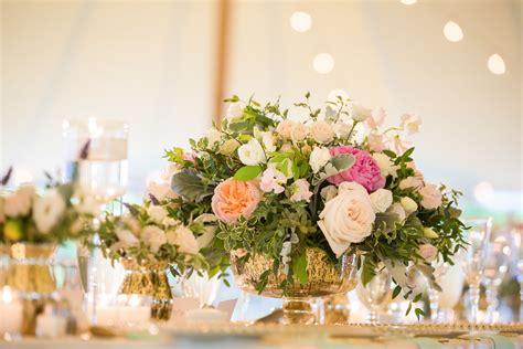 short gold mercury vases  blush flowers