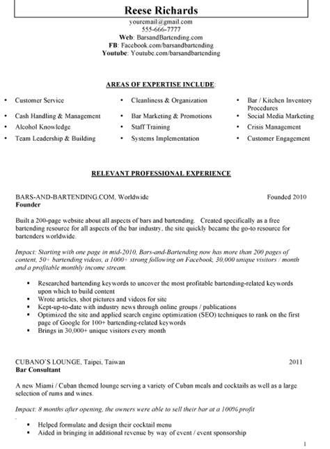 professional bartender resume template articleeducation