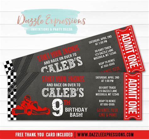 printable  kart chalkboard ticket birthday invitation