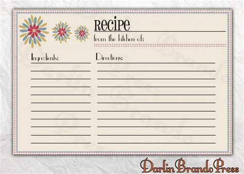 recipe card templates  microsoft word photo