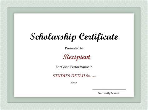 scholarship award certificate templates scholarship certificate template excel xlts