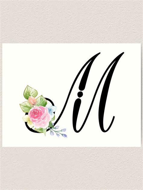 floral monogram fancy script letter  art print  grafixmom redbubble