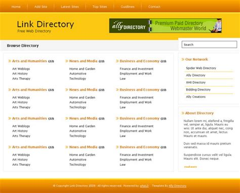 directory template orange phpld template free phpld templates