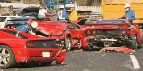 Ferrari Pile-up In Japan