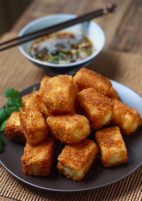fried tofu  sesame soy dipping sauce keeprecipes