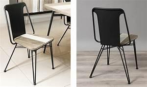 Chaise Design Metal : chaise style atelier en m tal noir et bois massif ~ Teatrodelosmanantiales.com Idées de Décoration