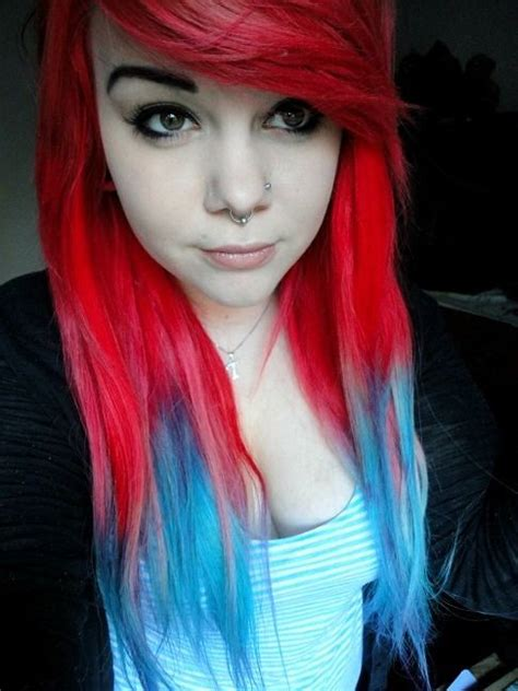 Hair Bright Red Hair And Red And Blue On Pinterest