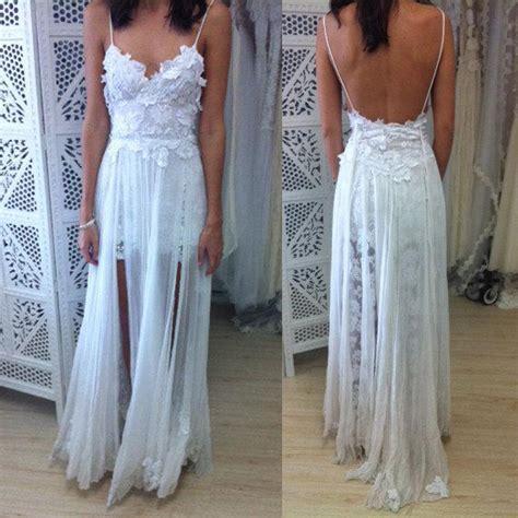White Boho Spaghetti Straps Lace Long Beach Wedding Dress