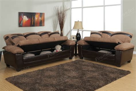 Chic 2 Pc Sofa Set Under Seat Storage Microfiber Couch