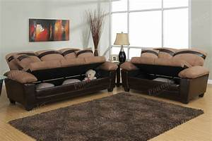 Chic 2 pc sofa set under seat storage microfiber couch for Sectional sleeper sofa with storage and pillows