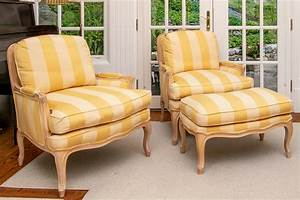 Elegant, Pair, Of, French, Country, Beechwood, Lounge, Chairs, With, Ottoman, 140494